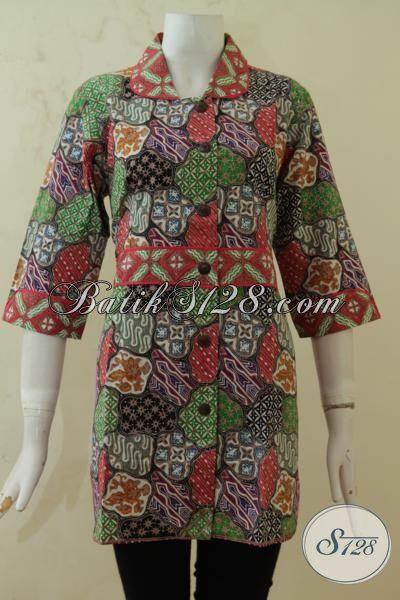 Baju Blus Batik Seragam Kerja Masa Kini Model Lebih Bagus Dan Mewah, Busana Batik Jawa Cap Tulis Mewah Motif Unik, Size L