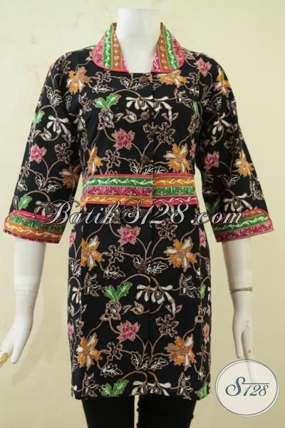 Toko Online Batik Jawa Jual Batik Blus Motif Bunga Desain Istimewa Berkelas, Batik Dasar Hitam ELegan Membuat Cewek Terlihat Menawan, Size XL