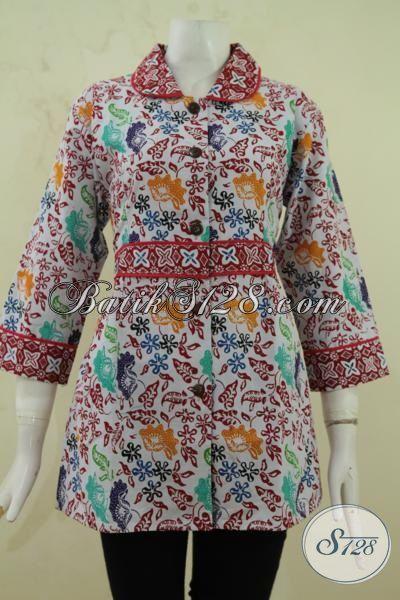 Baju Blus Wanita Terbaru, Pakaian Batik Berkelas Berbahan Halus Model Lebih Mewah, Batik Solo Cap Bledak Harga Terjangkau, Size M