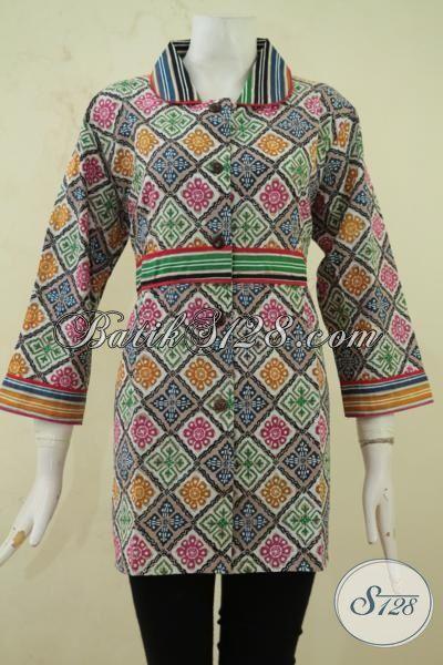 Blus Batik Elegan Wanita Dewasa, Baju Kerja Batik Desain Mewah Proses Cap Tulis, Busana Trendy Size L Bahan Batik Halus Dan Adem