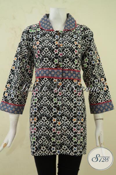 Blus Batik Motif Unik, Pakaian Batik Desain Berkelas Warna Dasar Hitam, Baju Batik Cap Tulis Istimewa Kwalitas Bagus Sekali, Size L