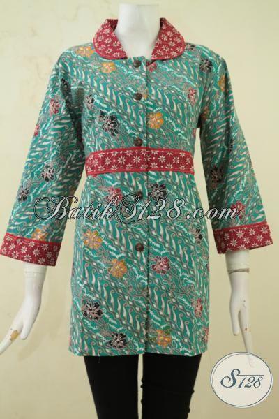 Batik Blus Parang Bunga Dengan Desain Istimewa Berkelas Berpadu Aksen Merah Semakin Mewah, Batik Kerja Wanita Karir Tampil Makin OK, Size L