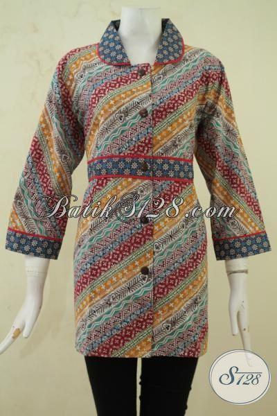 Blus Batik Masa Kini Referensi Busana Wanita Modern Yang Berkelas, Baju Batik Model Terbaru Kwalitas Halus Proses Cap Tulis [BLS3294CT-L]