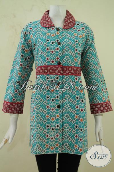 Blus Batik Warna Biru Toska Dengan Motif Ikat Pinggang - Baju Batik 2aa3a3adf1