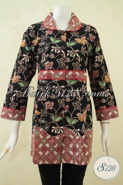 Batik Baju Kerja Kombinasi Dua Motif, Batik Blus Elegan Perempuan Muda Dan Dewasa Cap Tulis, Penampilan Semakin Cantik Dan Feminim, Size XL