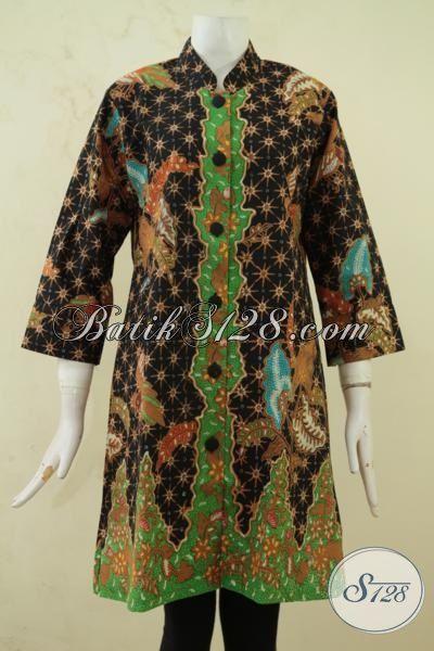 Sedia Pakaian Batik Premium Exclusive Wanita Karir Sukses, Baju Batik Kombinasi Tulis Modern Klasik Khas Solo Tampil Makin Berkelas, Size L
