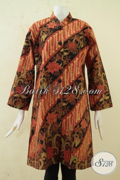 Pakaian Batik Wanita Gemuk Tampil Modis Dan Elegan, Blus Batik Kombinasi Tulis Klasik Full Furing Ukuran Jumbo Untuk Ke Kantor [BLS3306BTF-XXL]