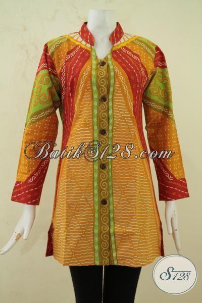 Jual Batik Blus Lengan Panjang Warna Keren Baju Batik