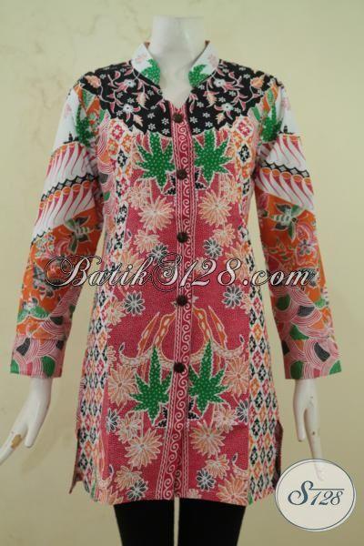 Batik Blus Modern Motif Bunga Desain Mewah Trend Masa Kini, Baju Batik Printing Kwalitas Halus Harga Terjangkau Sekali, Size S