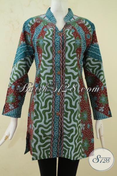 Blus Pakaian Kerja Bahan Batik Printing Desain Modern Nan