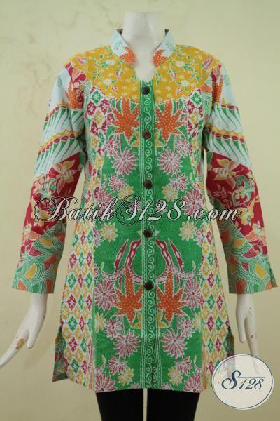 Baju Batik Blus Elegan Kombinasi Klasik Dan Modern Berpadu Desain Yang Mewah Menggoda, Berbahan Batik Print Solo Halus Size Jumbo Pas Buat Wanita Gemuk, Size XXL