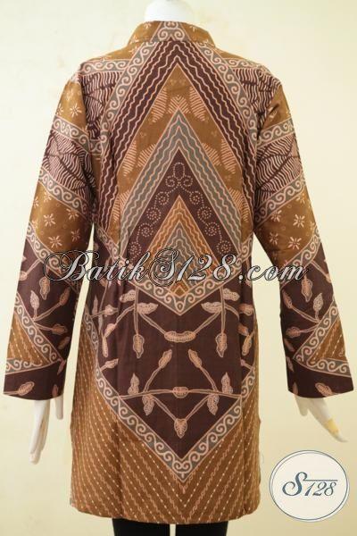 Baju Blus Klasik Lengan Panjang Proses Print, Busana Batik Modern Kwalitas Bagus Desain Elegan Harga 100 Ribuan, Size XL