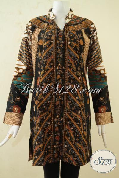 Pusat Baju Batik Formal Seragam Kerja, Sedia Blus Batik Klasik Wanita Dewasa Model Terkini Proses Printing, Batik Solo Halus Adem Nyaman Di Pakai Siang Hari, Size XL