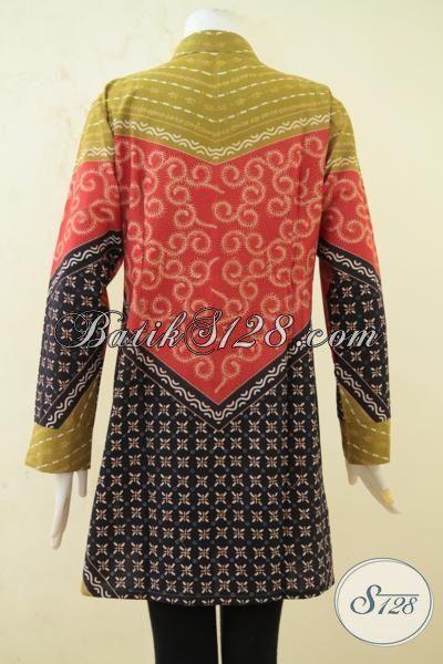 Baju Batik Klasik Lengan Panjang Seragam Kerja Pegawai Bank Syariah, Blus Batik Kombinasi Tulis Desain Trend Membuat Wanita Semakin Kece [BLS3318BT-XL]