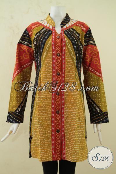 Pakaian Kerja Wanita Gemuk Berjilbab Blus Batik Lengan Panjang