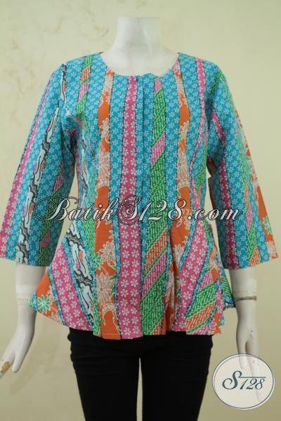 Batik blus motif kombinasi baju batik printing size m Baju gamis batik buat remaja