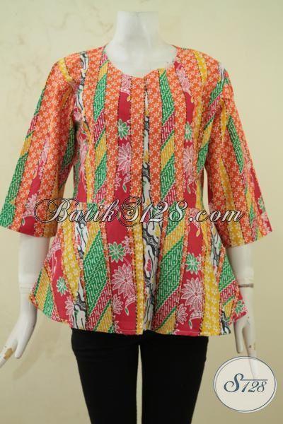 Beli Batik Blus Online Aman Terpercaya, Baju Batik Berkwalitas Bagus Trend Mode 2015 Paling Keren Dan Murah, Size L