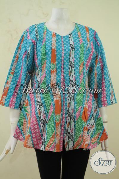 Pedagang Baju Batik Solo Online, Jual Batik Blus Printign Warna Paling Keren Dengan Desain Berkelas Harga Tetap Murah, Size XL
