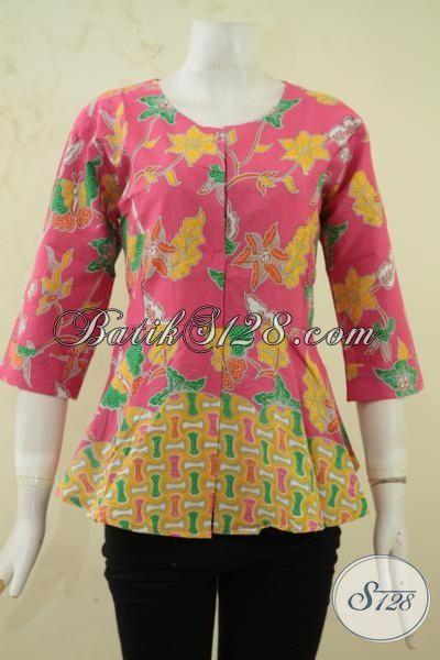 Batik Blus Dua Motif Perpaduan Warna Pink Dan Kuning Yang Keren Dan Feminim, BajuBatik Printing Buatan Solo Lebih Halus Dan Luar Biasa [BLS3336P-S]
