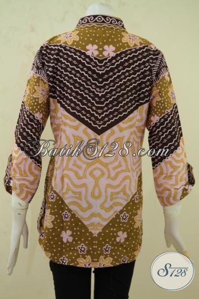 Batik Blus Modern Motif Unik Lengan Tujuh Perdelapan, Busana Batik Printing Motif Berkelas Cewek Tampil Elegan Dan Modis, Size L