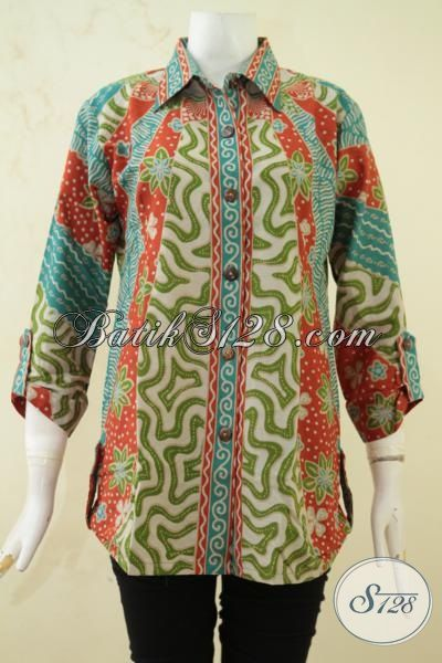 Pedagang Batik Jawa, Sedia Blus Batik Elegan Desain Formal Motif Klasik Proses Print, Baju Batik Solo Tampil Lebih Anggun [BLS3342P-L]