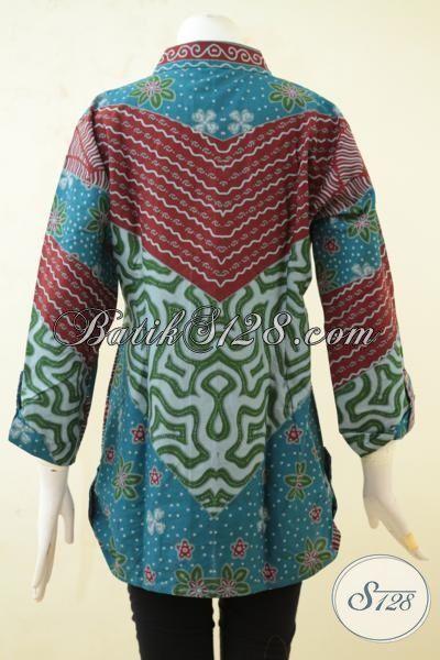 Toko Baju Batik Terlengkap Di Solo, Jual Online Blus Batik Printing Kwalitas Bagus Motif Klasik Harga 100 Ribuan [BLS3343P-L]