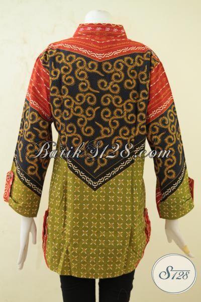 Baju Batik Elegan Yang Membuat Wanita Makin Mempesona, Busana Batik Kombinasi Tulis Model Terbaru Yang Lebih Fashionable, Size XL