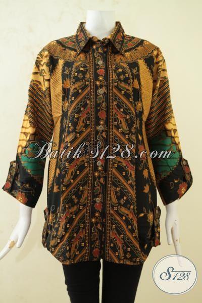 Baju Batik Permepuan Model Elegan Motif Mewah, Blus Batik Printing Kwalitas Terbaik Halus Dan Adem, Cocok Untuk Pemakaian Siang Hari, Size XL