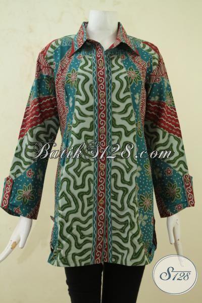 Pakaian Model Blus Desain Formal Bahan Batik Printing, Baju Batik Klasik Size Jumbo Warna Elegan Trend Baju Kerja Wanita Gemuk Masa Kini, Size XXL
