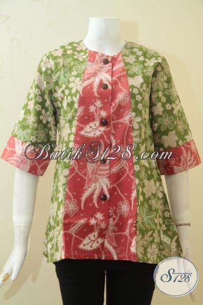 Blus Batik Dual Motif Kombinasi Warna Hijau Dan Merah, Batik Trendy Dan Modis Size S, Pas Banget Buat Remaja Putri Tampil Memikat