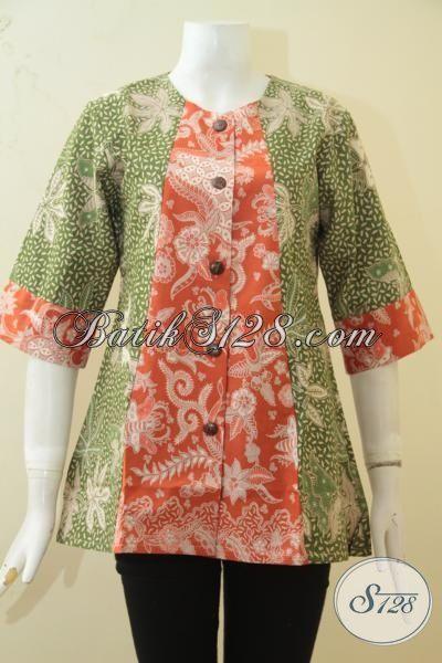 Online Shop Jual Baju Batik Perempuan, Blus Batik Berbahan Halus Dan Adem, Batik Kerja Kombinasi Tulis Dual Warna Dan Motif Cewek Terlihat Anggun [BLS3367BT-M]
