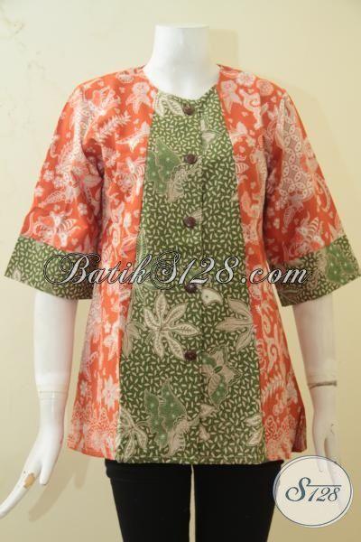 Jual Batik Blus Orange Kombinasi Hijau, Baju Batik Dua Motif Trend Terkini, Busana Batik Wanita Desain Istimewa Untuk Acara Penting [BLS3368BT-M]