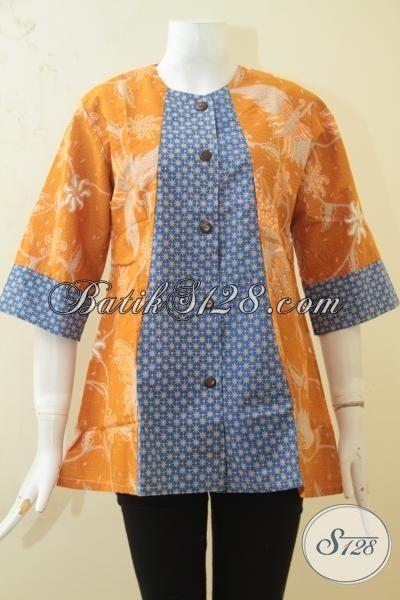 Batik Blus Dual Motif Buatan Solo, Baju Kerja Modis Warna Berkelas Proses Kombinasi Tulis Hanya 100 Ribuan, Size L