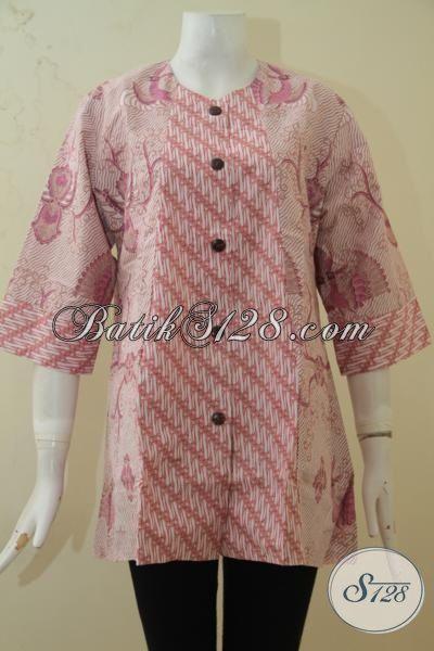Batik Blus Elegan Proses Print, Busana Batik Model Terbaru Yang Lebih Berkelas, Baju Batik  Warna Soft Perempuan Makin Terlihat Mempesona [BLS3375P-XL]