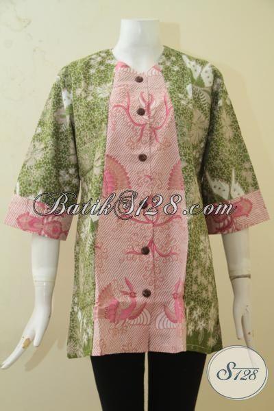 Batik Blus Terbaru Kombinasi Dua Motif, Pakaian Batik Model Paling Keren Berpadu Dua Warna Terlihat Makin Mewah, Cocok Buat Ke Kantor [BLS3376P-XL]