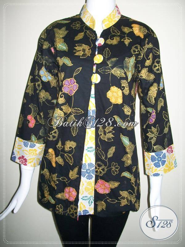 Baju BAtik Wanita Warna Hitam,Batik Berkwalitas Dan Batik Motif Bunga Asli Batik Di Toko Batik Murah Solo [BLS337CT-M]