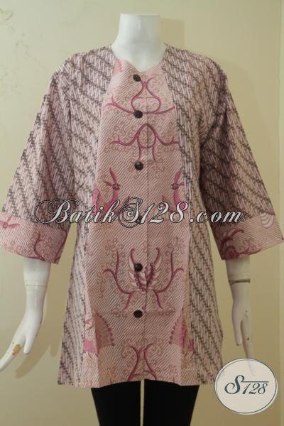 Blus Batik Dual Motif Ukuran 3L, Baju Batik Perempuan Gemuk Model Terkini Yang Fashionable Dan Trendy, Proses Printing, Size XXL