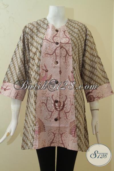 Pakaian Batik Kombinasi Motif Klasik Dan Modern, Blus Batik Print Desain Elegan Ukuran 3L Warna Mewah Harga Murah Meriah [BLS3384P-XXL]