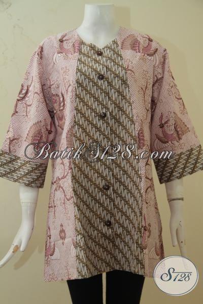 Batik Baju Kerja Modern Desain Mewah Size 3L, Baju Batik Printing 100 Ribuan Kwalitas Bagus Dan Adem Buat Wanita Gemuk, Size XXL