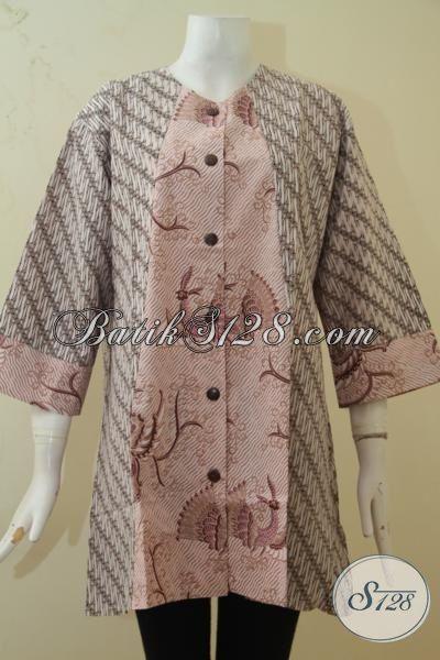 Sedia Pakaian Batik Blus Ukuran 4L, Baju Batik Wanita Gemuk Desain Istimewa Paling Dicari, Berbahan Batik Printing Halus Harga Murmer, Size XXXL
