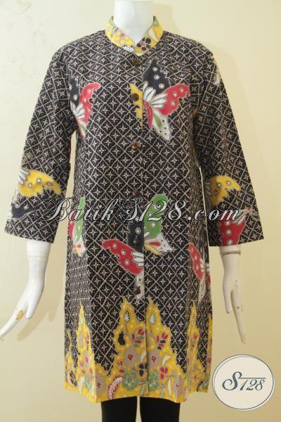 Blus Batik Printing Kwalitas Terbaik, Busana Batik Wanita Muda Motif Kupu-Kupu Cewek Tampil Makin Berkelas [BLS3392P-L]