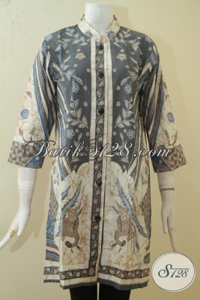Baju Blus Batik Mewah Kwalitas Premium, Pakaian Batik Kombinasi Tulis Warna Alam Desain Bagus Berpadu Warna Yang Kalem Membuat Wanita Lebih Mempesona[BLS3396BTA-S]