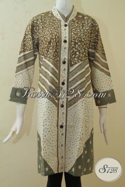 Baju Blus Wanita Dewasa Desain Mewah Dan Berkelas, Busana Batik ELegan Kombinasi Tulis Warna Alam Bikin Wanita Tampak Berkharisma, Size XL