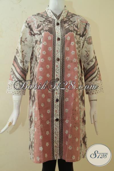 Baju Batik Warna Dominasi Pink Bunga Bunga Model Baju