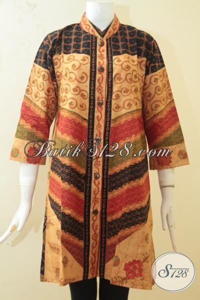 Produk Baju Batik Wanita Terbaru, Pakaian Batik Blus Kombinasi Tulis Motif Klasik Desain Mewah Berkelas Cocok Untuk Acara Formal, Size M