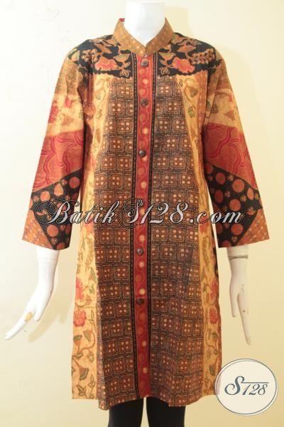 Blus Batik Elegan Motif Kombinasi, Baju Batik Kwalitas Premium Proses Kombinasi Tulis, Batik Solo Bagus Dan Keren Di Jual Online, Size L