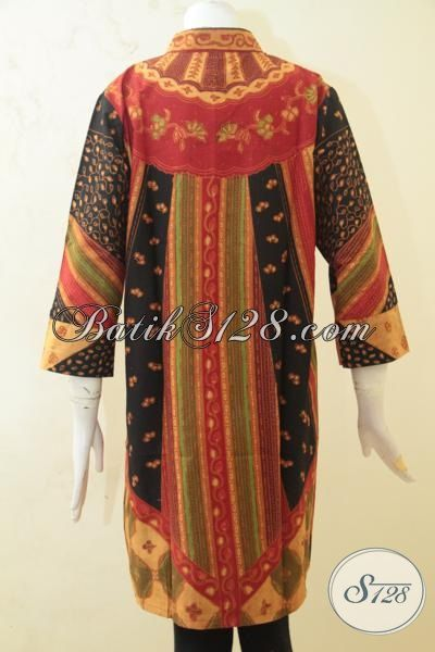 Busana Batik Perempuan Model Terkini, Batik Kerja Mewah Desain Istimewa Cewek Tampil Cetar Membahana, Berbahan Batik Solo Kombinasi Tulis Ramah Lingkungan, Size XL
