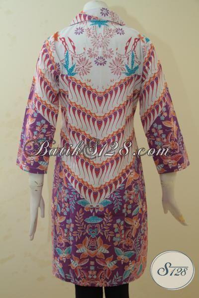 Blus Batik Merah Kombinasi, Busana Batik Trendy Cocok Buat Pesta Dan Jalan-Jalan, Batik Printing Jawa Halus Harga Terjangkau, Size M – XL
