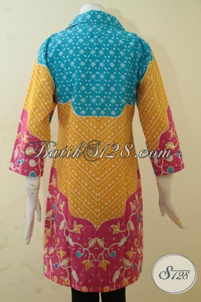 Jual Baju Batik Modern Kwalitas Halus Proses Printing, Blus Batik Model Terbaru Dengan Kombinasi Motif Keren Serta Warna Cerah, Membuat Cewek Terlihat Fresh [BLS3429P-M]