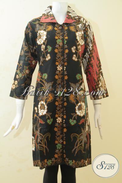 Jual Pakaian Batik Klasik Dual Motif Parang Bunga, Busana Batik Elegan Proses Print Tampil Anggun Dan Cantik Maksimal, Size L